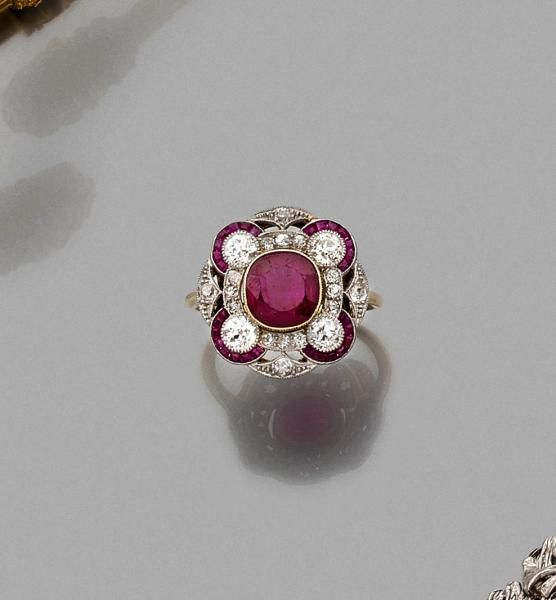 Bague rubis or diamant