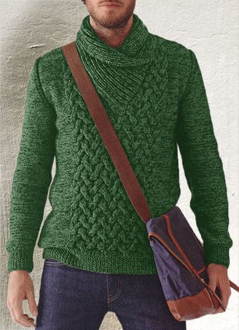 Knitting Pattern For Mens Sweater With Collar : Mens Hand Knitted Shawl Collar Sweater 42B tejidos ...