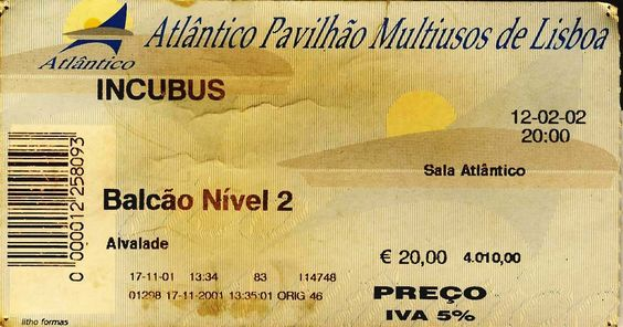 """Concerto: """"Incubus"""" @ Pavilhão Atlântico, Lisboa. Terça-feira, 12 de Fevereiro de 2002 ."""