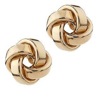 EternaGold Bold Polished Love Knot Stud Earrings 14K Gold