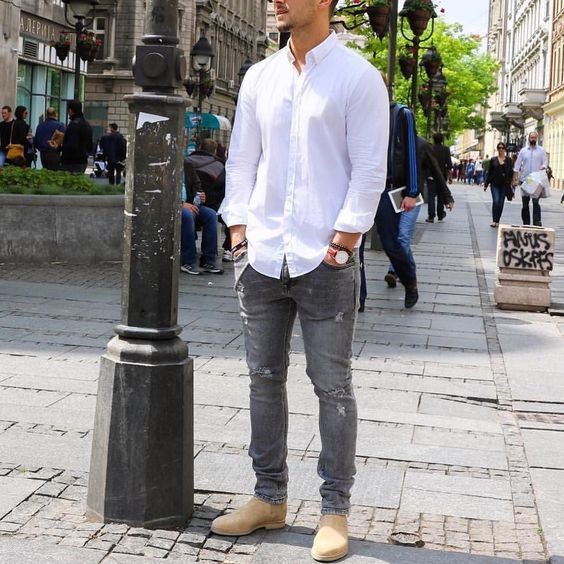 White shirt - distressed jeans and #chelseaboots by @sandroisfree [ http://ift.tt/1f8LY65 ]: