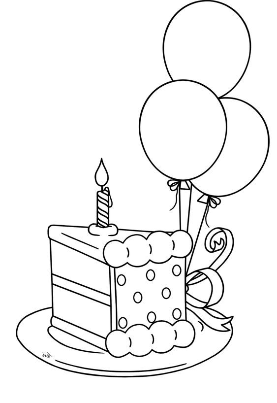 Birthday Cake And Balloons Coloring Pages Image Inspiration of