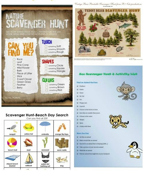 Great themed scavenger hunts (w/free printables!) for summer fun with the kids -- enough to do 1 each week from now until the end of summer!