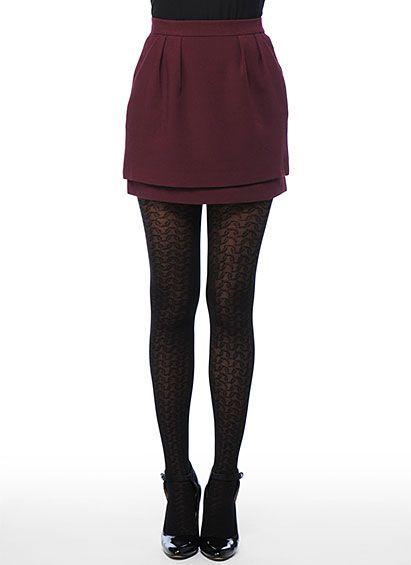 knit tights and maroon skirt #fall