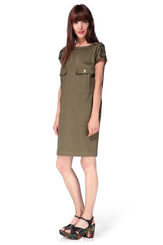 robe droite kaki army vert love moschino sur robe saharienne pinterest. Black Bedroom Furniture Sets. Home Design Ideas