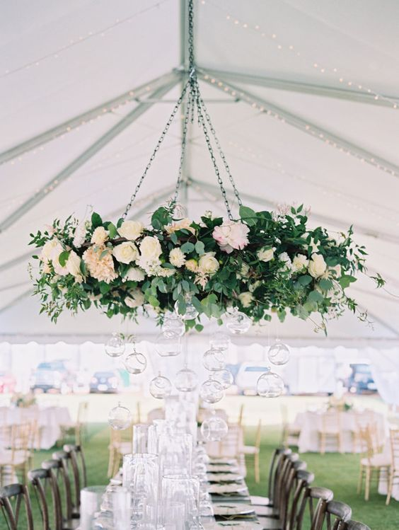 26 Must See Wedding Chandeliers You Could Totally Diy With A Hula Hoop Floral Chandelier Wedding Ceiling Wedding Chandelier