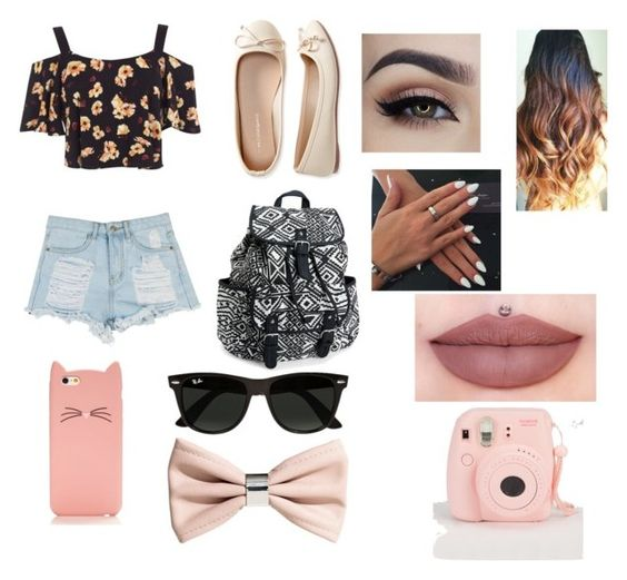 """""""spring outfit 2"""" by izzy175 ❤ liked on Polyvore featuring Aéropostale, Miss Selfridge, Ray-Ban, H&M and Kate Spade"""