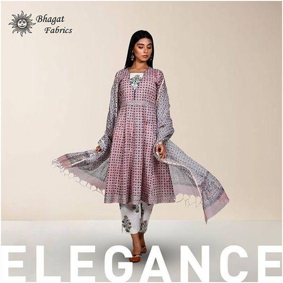 Pink Grey Block Print Kurta Set with kota doria dupatta- Bhagat Fabric