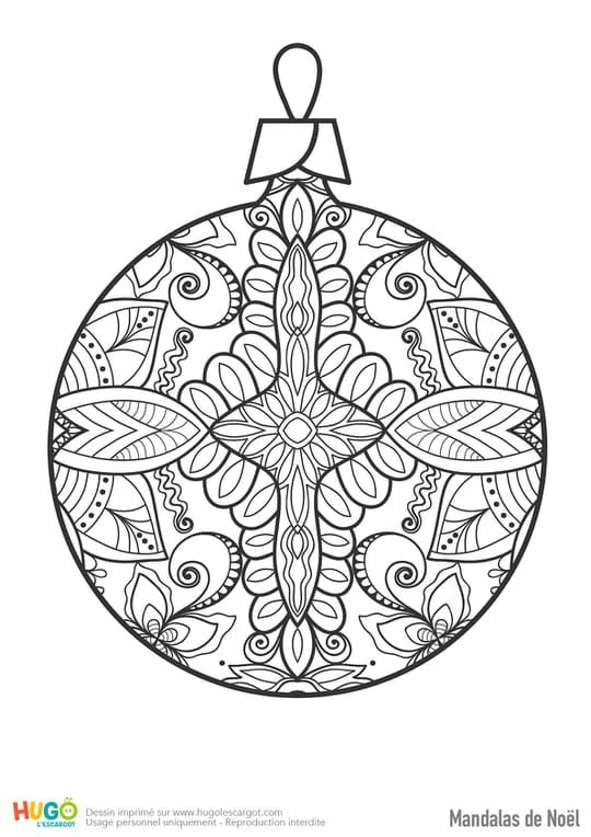 Mandala De Noel Mandala boule de Noël   Paper towel crafts, Mom coloring