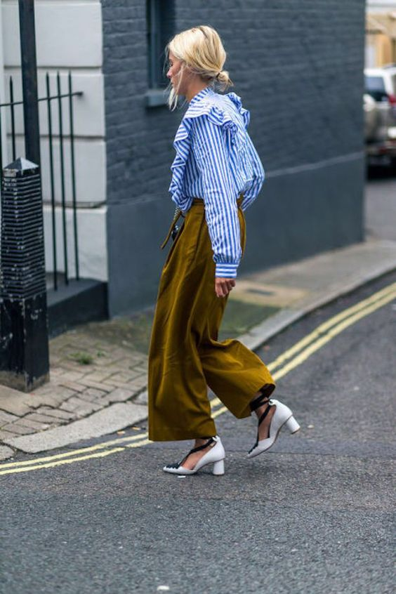 Blue and white ruffle blouse with olive green culottes