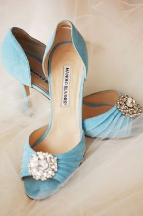 Bridal shoes, #ManoloBlahnik something blue! #gems on shoes! Gems are a head to toe accessory!