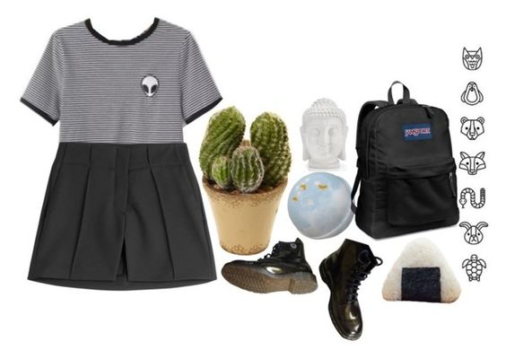 """""""me & you & you & me alone"""" by ghost-babe ❤ liked on Polyvore featuring Nearly Natural, Dr. Martens, Paco Rabanne, JanSport, women's clothing, women, female, woman, misses and juniors"""