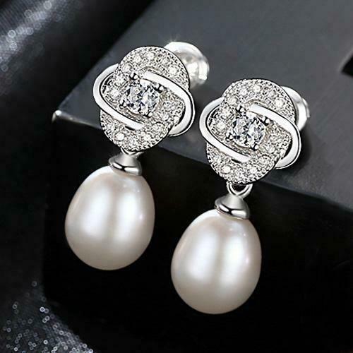 Damen Ohrringe 925 Sterling Silber Süßwasser Perle AAA Rhodiniert Zirkonia AAA
