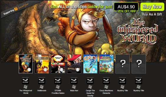 Bundle Stars released their third bundle today. The Magic Number Bundle contains eight indie games. Two of the eight games will be announced at a later date. The bundle currently contains point and click adventure game The Whispered World, puzzle game Crazy Machines Elements, tactical action game Helldorado, turn based strategy game Storm: Frontline Nation, point and click adventure game Mata Hari, and action-adventure game Cargo.