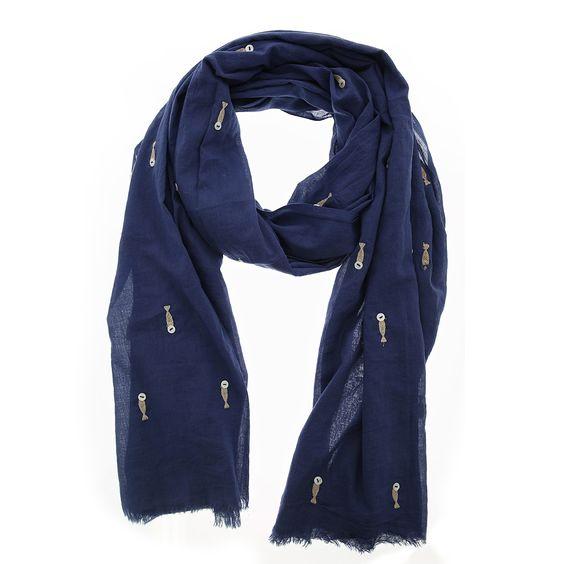 Blauwe sjaal met wit geborduurde visjes van Otra Cosa – 1158