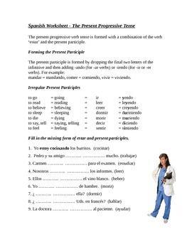 Printables Present Progressive Spanish Worksheet spanish present progressive tense worksheet presente de progresivo shorts worksheets and nine durso