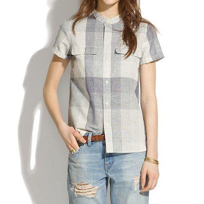 Short-Sleeve Shirt in Screendoor Plaid - shirts & tops - Women's NEW ARRIVALS - Madewell: Shirts Tops, Button Up, Arrivals Madewell, Short Sleeve, Plaid Shirts, Plaid Pattern, Madewell Short