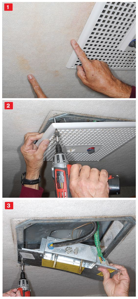 (1) Water stains are indicators of a leaking air-conditioner gasket. They can be removed with InstaGone. (2) Remove the four screws that hold the ceiling assembly in place to access the tie-down bolts. (3) Remove the electrical control box and tuck it up into the air-conditioner assembly.