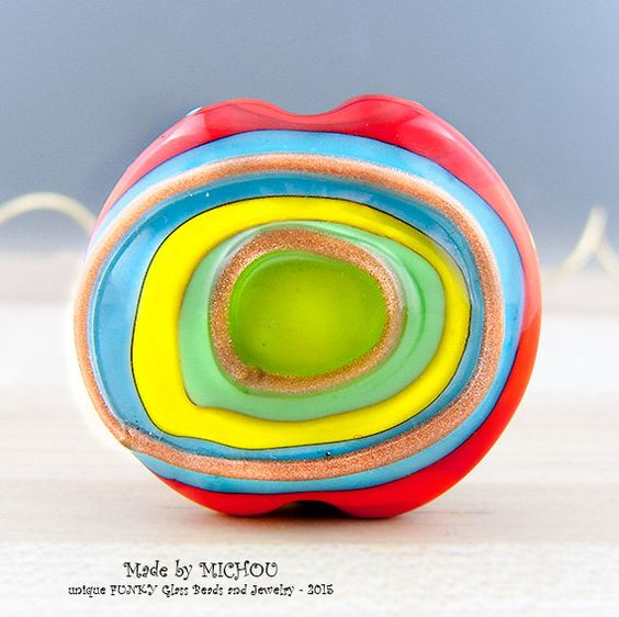 Bright Lights Art Glass 1 focal bead by Michou by michoudesign