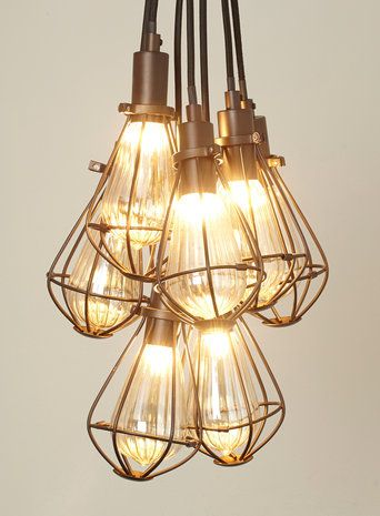BHS // Illuminate // Billie 7 light cluster // Industrial caged cluster light with 2m cable and ceiling hook
