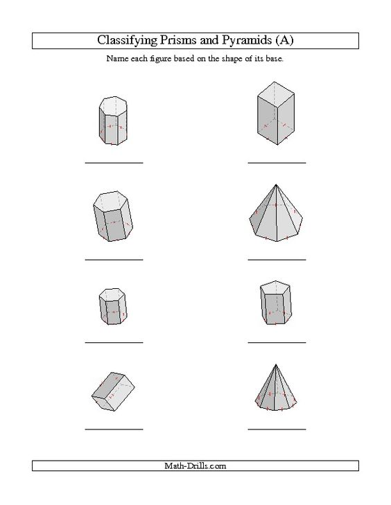 Classifying Prisms and Pyramids A – Multiplication Pyramid Worksheet