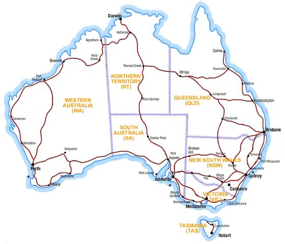 Colourful map of Australia showing all states and territories and – Australia Map with States and Capital Cities