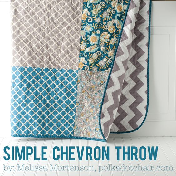 Free tutorial for a simple chevron quilt. A sewing pattern to make a quilt with chevron fabric on the back. Beginner quilt project.