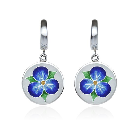 "Silver round earrings ,,flower viola"". Cloisonné enamel technique, silver, glass transperent enamel, sterling silver. Handmade."
