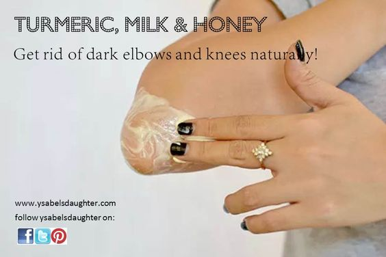 Dark elbows and knees are unsightly! Make your own whitening paste by mixing turmeric, milk and honey. Leave it on for 20 minutes. Then wet your hands and rub the area for at least 2 minutes then wash it all off with water. Turmeric and honey have antiseptic properties while milk acts as a bleach. Honey will also help moisturize the dry skin.