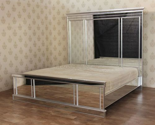 Modern Contemporary Mirrored Panel Mansion Bed All Sizes