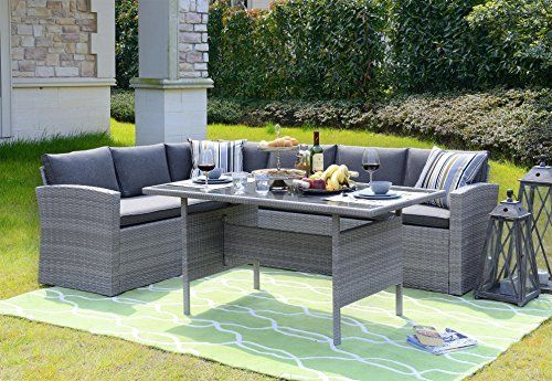 Homewell Ourdoor Wicker Dining Set With L Shaped Sofa With Images