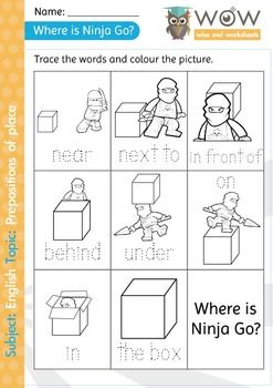 Printables Preposition Kindergarten Worksheets prepositions of place big pack homework worksheet from the efl ninjago english