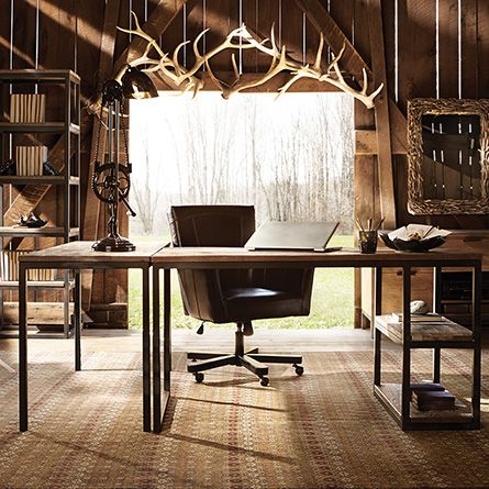 palmer return desk in oak arhaus furniture rustic industrial home office and study area awesome home office furniture composition 20