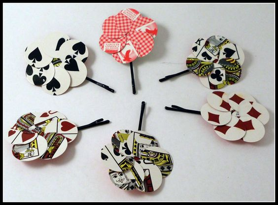 Playing card hair clips / pins