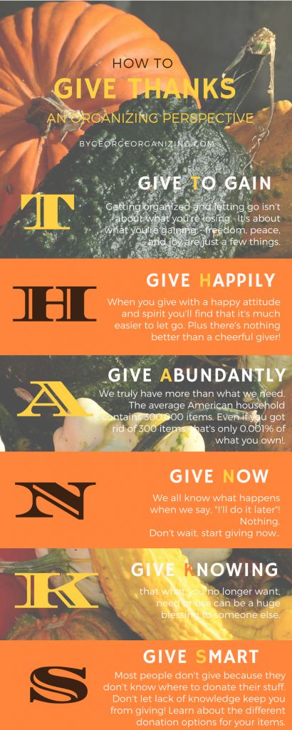 How to Give THANKS - An Organizing Perspective - By George - Organizing Solutions