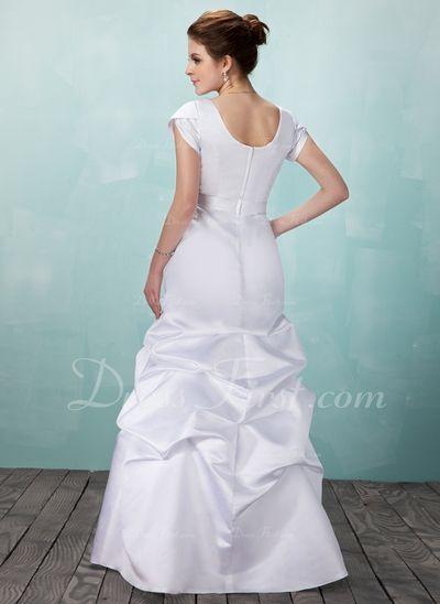 Vestidos princesa/ Formato A Decote quadrado Longos Cetim Vestido de noiva com Pregueado Pino flor crystal (002001633)