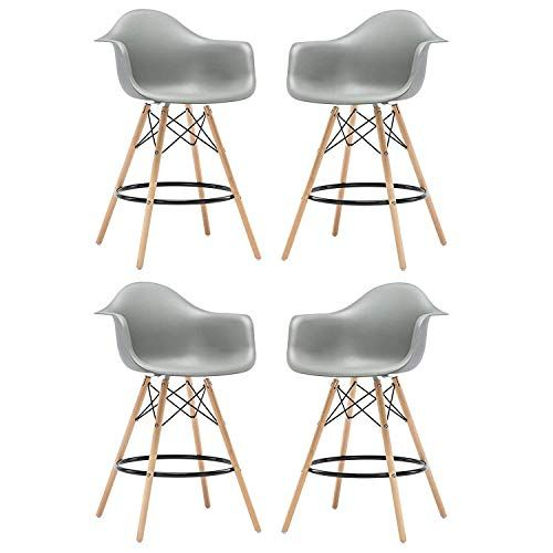 Dfsu Bar Stool Set Of 4 Bar Stools Set With Backrest Adjustable Chrome Footrest For Breakfast Bar Counter Kitchen An Bar Stools Breakfast Bar Stools Bar Chairs
