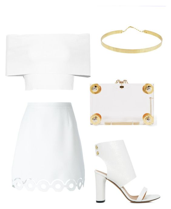 """""""▫️◽️"""" by fashionjunkiee-1 ❤ liked on Polyvore featuring Rosetta Getty, Carven, Lana, IRO and Charlotte Olympia"""