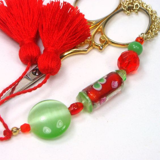 Scissor Fob Beaded Orange and Green by TJBdesigns on Etsy, $18.00