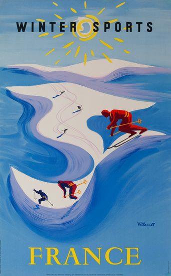1954 France Winter Sports vintage poster