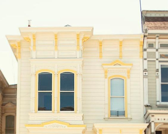 Yellow House Photograph, San Francisco, Architecture, Pastel, Yellow Wall Art, Windows, Design, House Photography, 8x10, 11x14, 16x20
