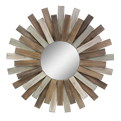 Stonebriar Large Round 32 Wooden Sunburst Hanging Wall M Https Www Amazon Com Dp B07c3h1lkq Hanging Wall Mirror Rustic Wall Mirrors Mirror Wall