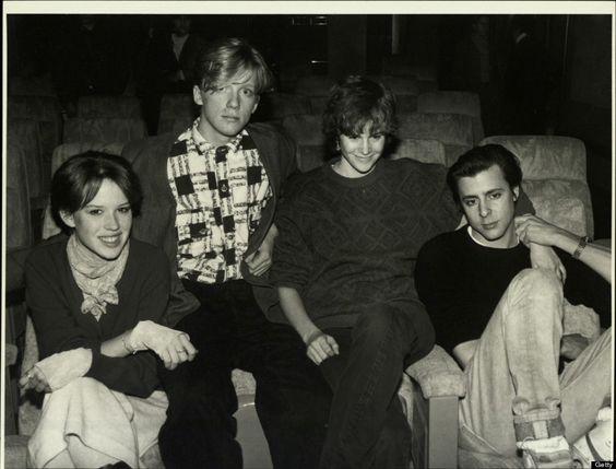Molly Ringwald, Anthony Michael Hall, Ally Sheedy & Judd Nelson on Jan. 1, 1990.