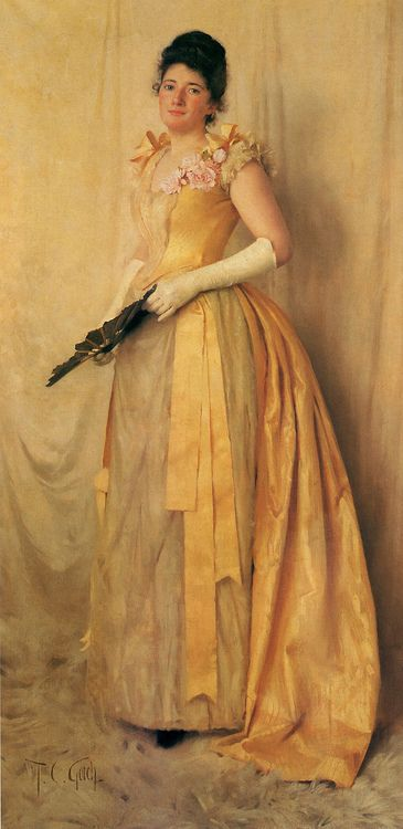 Thomas Cooper Gotch, The Lady in Gold - A Portrait of Mrs. John Crooke, (1891)