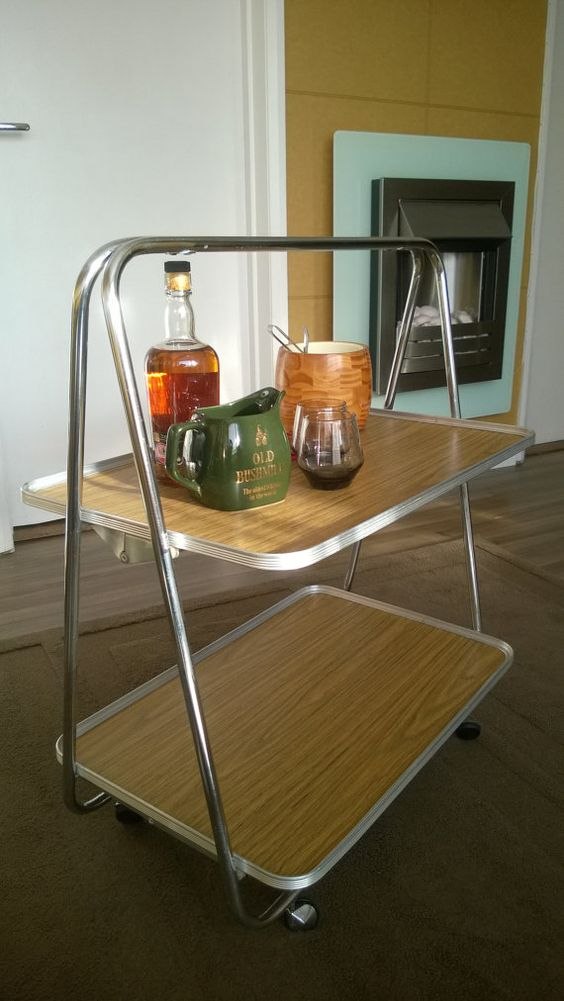 Bar cart drinks trolley folding mid century modern collapsible tea trolley hostess home bar table cabinet