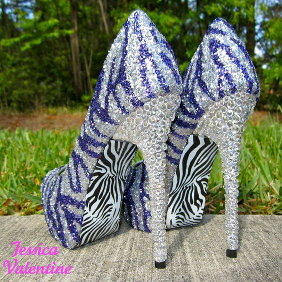 Zebra Purple & Silver Glitter Heels | SHOES | Pinterest | We, Blue ...