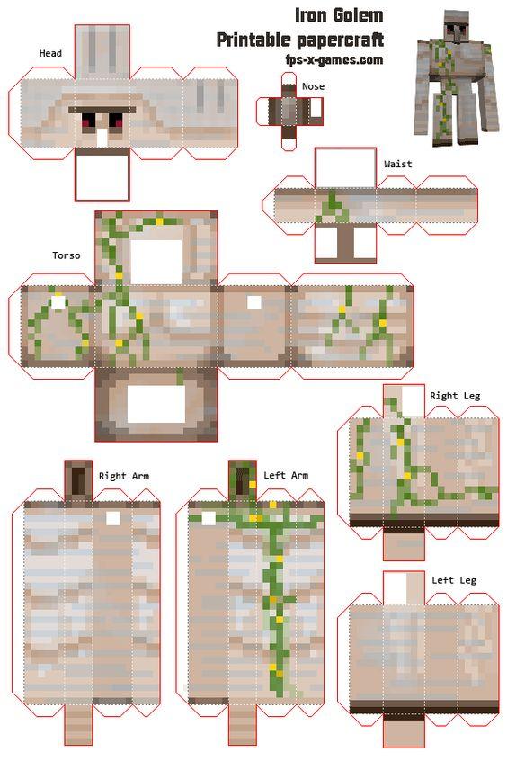 Your own Iron Golem Minecraft printable papercraft cutout | minecraft ...