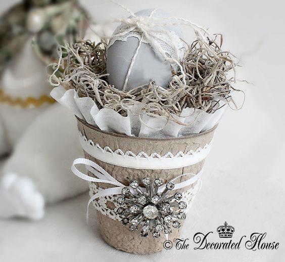 DIY Peat Pots. Decorated. Embellished. Altered ~ Pretty Decorated Peat Pots at The Decorated House: