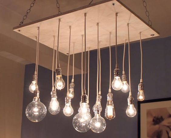 Ampoules suspension bois boutique hyatt 2 pinterest for Suspension luminaire ampoule