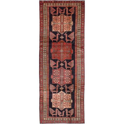ECARPETGALLERY Ardabil Hand-Knotted Black/Red Area Rug